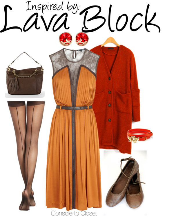 Lava Block (Minecraft) by ladysnip3r featuring a silk dress This outfit is inspired by the Lava Block from Minecraft. I found a beautiful burnt orange dress with a brown lace detail which I paired with a dark red cardigan to match the color palette of the lava. I chose dark brown accessories to compliment the lace in the dress. Lastly, I chose bright red jewelry to add to the lava color palette. (Reference Image) Catherine Deane silk dress, $855 / Red top / BCBG Max Azria sheer tight / Ballerina shoes / Steve Madden zipper bag / Juicy Couture leather jewelry / Crystal stud earrings