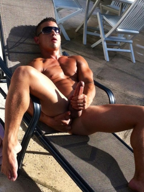 bjackman51:  young married Brent jackin his dong on the patio  For more hot pics and videos follow: racock.tumblr.com