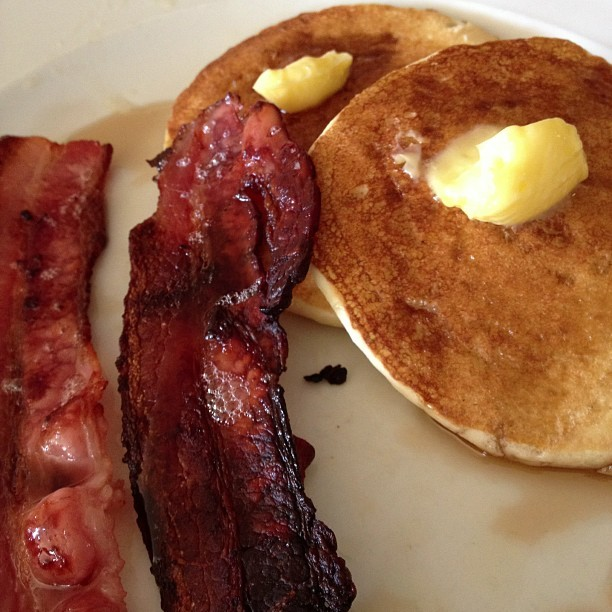 Booby pancakes with #bacon. I am way too excited. Also, why did I bother to gym this morning.