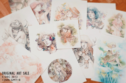Hello! I'm selling some of my smaller original artworks. There are over 15 pieces for sale priced between $50-150, sized mostly A4-A7. I'm posting them on Dec 5, 12nn GMT+8. Still figuring out the logistics but you'll definitely see a notice here when it's up! :D