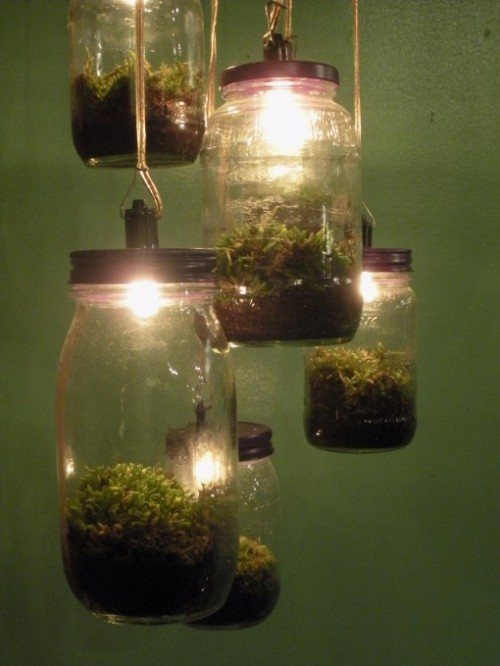 hedgetroll:  evocativesynthesis:  Lamp made from glass jar moss terrariums (via Design Squish)  okay. These are adorable.  I need like 40 of them.