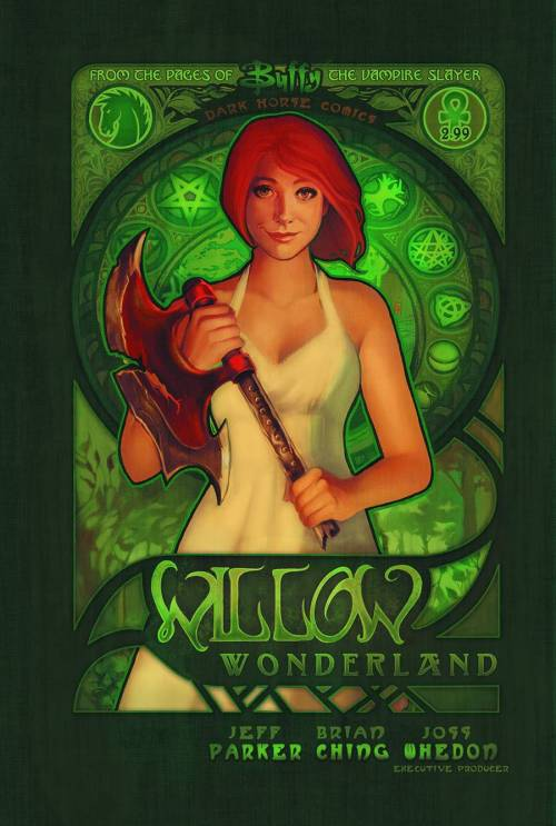 Market Monday Buffy the Vampire Slayer: Willow Wonderland #2, colored by Michelle Madsen, variant cover by Megan Lara  In a strange new dimension, many unexpected encounters guide Willow on the quest to return magic to her world. While she's increasingly better at keeping her darkest self at bay, her mystery companion-Marrak-encourages darkness, making Willow wary of his intentions while dependent on his knowledge of this magically abundant realm. Just how far down the path of volatile magic will she go to get what she wants? And whom might she find there?  ~Preview~