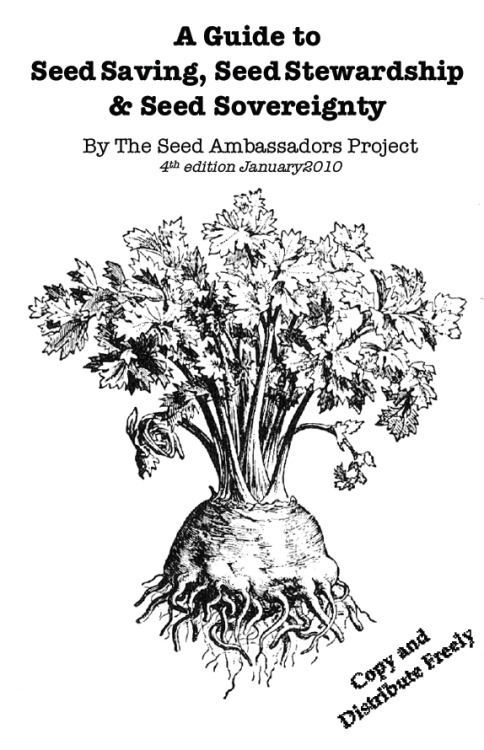 decodeencode:  A Guide to SeedSaving, SeedStewardship & Seed Sovereignty (PDF) by The Seed Ambassadors Project (2010). From the front page …  If SEED SAVING is collecting seeds for replanting in the future… Then SEED STEWARDSHIP is the process of saving seeds with the purpose of maintaining or improving that seed's health and resilience. It also includes the act of saving and selecting a variety over a period of many seasons, with the end goal of passing it on to others in the future. The ideal of SEED SOVEREIGNTY firmly plants seed saving and seed stewardship in the realm of fundamental human rights. It is the freedom to save seed and determine the foundation on which our food system rests. With the current attacks of industry hitting at the heart of food sovereignty, the simple act of seed saving becomes a major act of resistance and social empowerment.  Contents … Why Save Seeds Fundamental Concepts Seed Saving Tools Easy Seed Tomatoes (the gateway drug) Beans & Peas Corn Cucumbers, Melons, & Squash Herbs: Annual & Biennial Lettuce Peppers, Eggplant & friends Spinach & Miscellaneous Greens Less Easy Seed Biennial Roots: Beets, Chard, Carrots, Onions, Leeks, Parsnips Brassicas: Broccoli, Kale, Cabbage, Turnips, Brussels Sprouts, Kohlrabi Guide to Jargon Read More