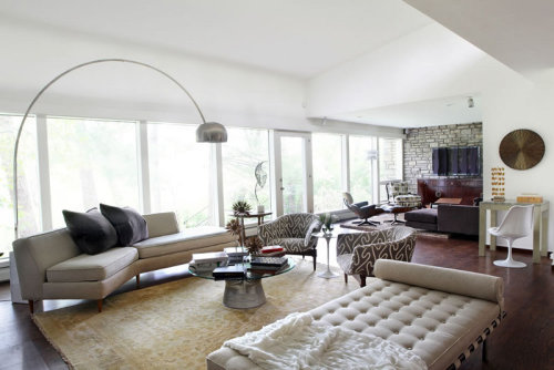 {An eclectic mix with a mid century riff. Neutral background with texture and colour adding layers of interest. Classic with a modern edge. Sophisticated yet fresh. Young yet retro. A home that is functional and beautiful. Isn't that what we all want? Cool interiors by St Louis, Missouri based CURE Design Group.}