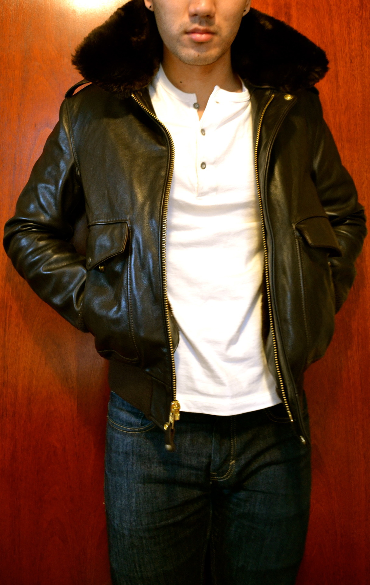Take Flight Jacket by Schott NYC Henley by J. Crew Denim by Levi's