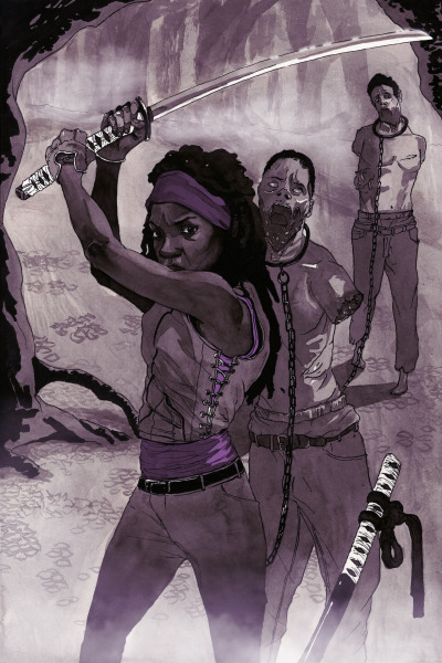"stephendavisillustration:  The first Walking Dead print entitled, ""Michonne"" is officially uploaded and for sale on my print shop. If you didn't already know, one random lucky person will receive the print for free. To have your name placed on the list of participants simply like and re-blog (or share depending if you're on my Facebook page) this image and at the end of the week one person will be randomly chosen to receive the free print! P.S- Stay tuned for details describing Walking Dead print #2. Stephen Davis."