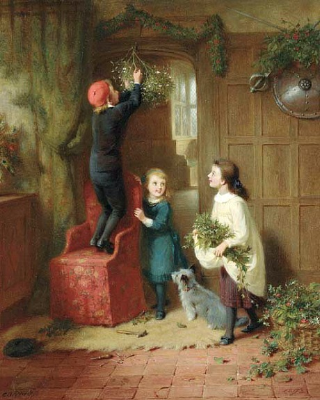 George Bernard O'Neil Hanging the Mistletoe 1892