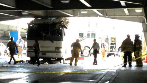 Bus crashes into overpass at MIA - Miami, FL - 12/1/2012 - 2 fatalities.