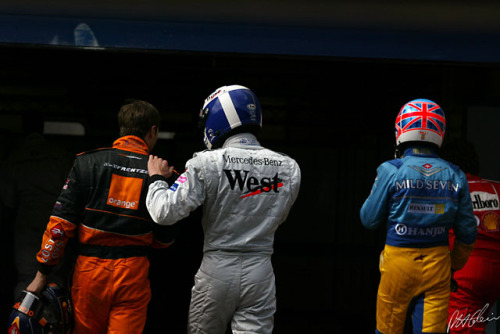Heinz-Harold Frentzen, David Coulthard and Jenson Button, 2002.