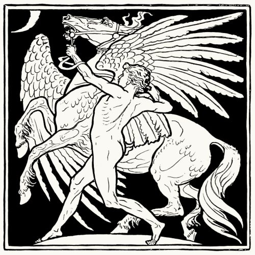 Poet and Pegasus.  Walter Crane, from The magazine of art vol. 10, London, 1887.  (Source: archive.org)