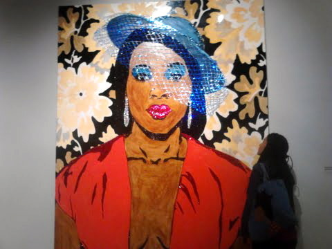 Mickalene Thomas: Origin of the Universe!!! I couldn't believe the scale and detail and massive-ness of these visions. I went to the Brooklyn Museum over taking-day break (i've talked about the problematic nature and history of museums and my complicated love of them) to see Mickalene Thomas' work. I'm sure that someone has written in better detail than I but goodness the [re]clamation of western art traditions, the centering of BLACK WOMEN and the story-telling, multiple ways of knowing and showing. It was really beautiful and impressive. Though I have no clue who has this much room in their house, it is now a goal of mine to have high ceilings. The colors, the rhinestones, the enamel, the paint the lightness the heaviness the many browns and thick lips and direct gaze and the fabulousness. Collage- like quilts- collecting little bits and gathering them as a new, vibrant whole. Obvious and subtle metaphor and umph. So cool.