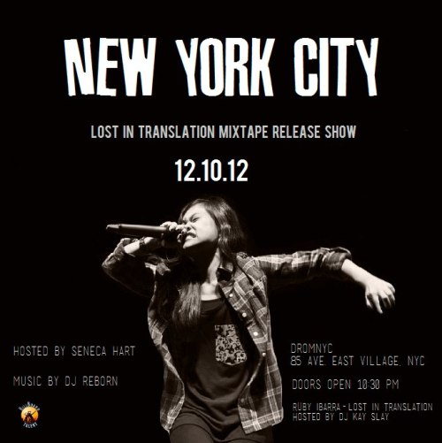 rubyibarra:  shanemenez:  Ruby Ibarra will be performing in NYC! Feel honored to have my photo used.  MONDAY!  My homie RUBY rippin it in NYC… come thru!