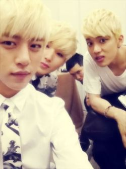 Blonde Asian People before MAMAs ^^ (Daehyun's Twitter) click for more KPOP