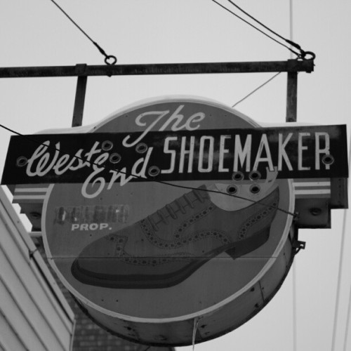 #Vintage Shoemakers #Sign in #Regina #Saskatchewan's #Cathedral District. #signhunting #signs #instasigns #instagood #picoftheday #photooftheday #bestoftheday #all_shots #all_pixs #TalentsClub #fabshots #teamrebel #sspics #sspics_bw #blacknwhite_perfection #blackandwhite #streetphotography #canon7D #Lightroom