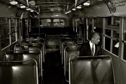 Yesterday was the 57th anniversary of the arrest of Rosa Parks. 57 years ago Rosa refused to move from her seat to the back of the bus.It was only 57 years ago that it was legal to tell someone just because of their skin color they had to give up their seat. Discrimination like this was widely accepted, it took one brave person to stand up and fight it.Yesterday President Obama visited the bus Rosa Parks was arrested in. It's a powerful photo.Don't forget the recent past.