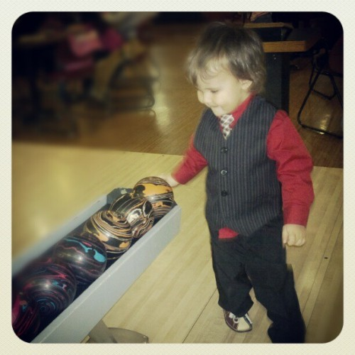 Today was Stehen's #first time bowling! #learning #fun #Sunday #family #Christmas #party