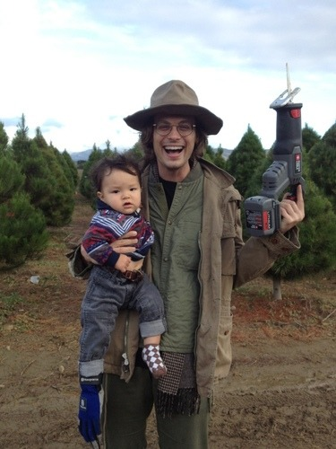 gublernation:  me holding a dangerous saw and a baby with a glove on it's foot View more Matthew Gray Gubler on WhoSay