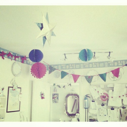 My brothers and mine #schoolxmasart #handmade #bunting #paperball decorations #Christmas