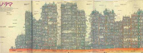 arquicomics:   The Kowloon Walled City panorama (with English annotations) The amazing detail depicted below owes its existence to Terasawa Hitomi, who illustrated the pages in the book Daizukan Kyuryujyou.  CRAZY!
