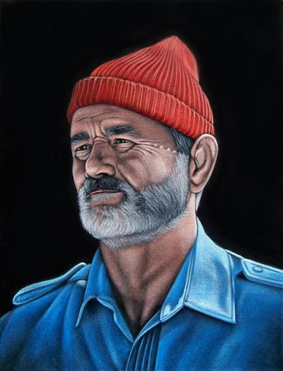 """Steve Zissou"" (acrylic on black velvet) by Bruce White."