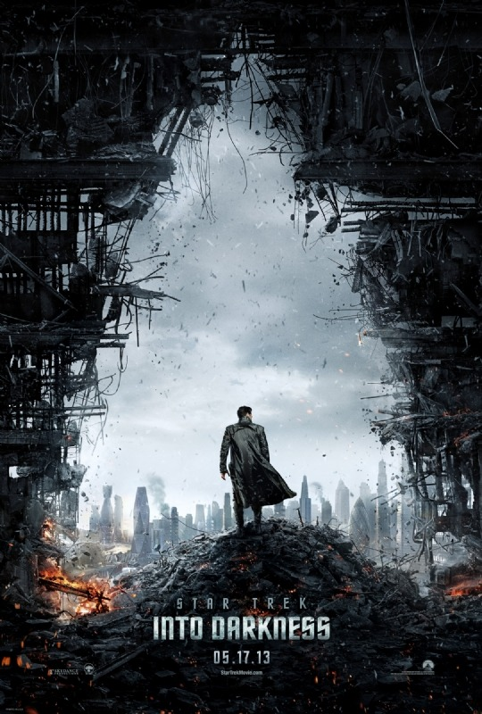 Happy Monday everyone!Here's the debut poster for Star Trek Into Darkness to feast your eyes on this morning.We assume that's Benedict Cumberbatch overlooking his handy work and basking in the destruction he'll cause in the movie. We've also noticed a few famous buildings in the distance, including London's very own gherkin.We think it's a fantastic poster and cannot wait for a first trailer, which is rumoured for release with screenings of The Hobbit.