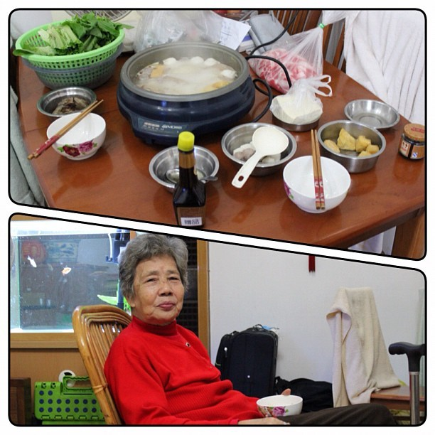 Having homemade hot pot with my grandma and auntie. :) (at Guangzhou City)