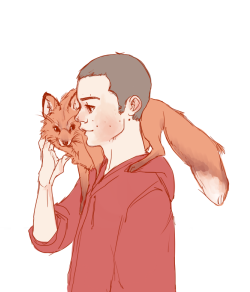 blamemarcel:  quick sketch because the idea of Stiles with a fox dæmon makes me super happy.
