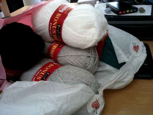 My new chunky wool for secret present crafting has arrived!  Yey!