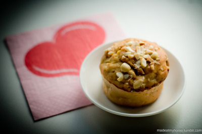 "Today's Breakfast: Banana Apple Oatmeal Muffin In Brazil we have the expression (at least I have): é muito amor. The translate would be something like ""is too much love"". We use when something is so cute, so lovely that is too much love to bear! This Muffin é muito amor :)"