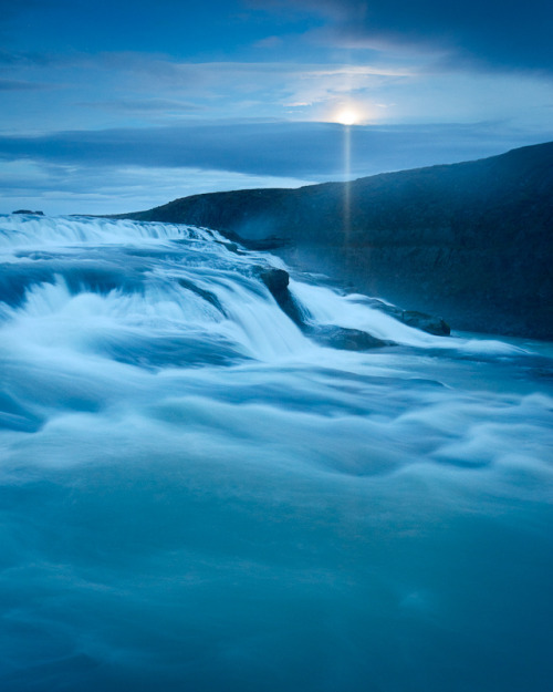 """Moonrise over Gullfoss,"" Iceland"