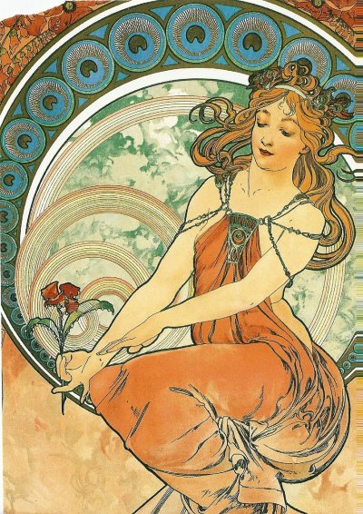 postcardsandpieces:  The Arts: Painting, 1898 by Alphonse Mucha (1860-1939).