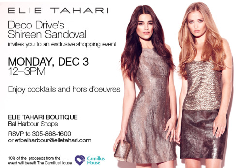 Bal Harbour… We'll see you soon for a shopping event with Deco Drive's Shireen Sandoval benefiting Camillus House.