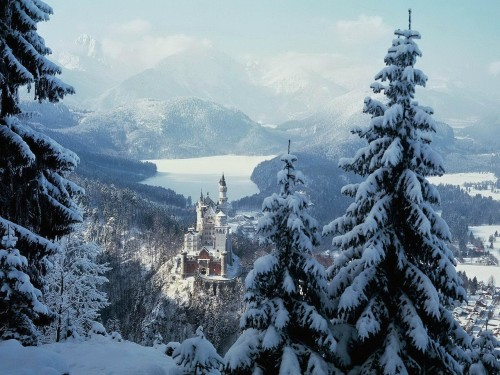 Neuschwanstein Castle, Bavaria, Germany, the castle after which the Sleeping Beauty castle at Disneyland was modeled.