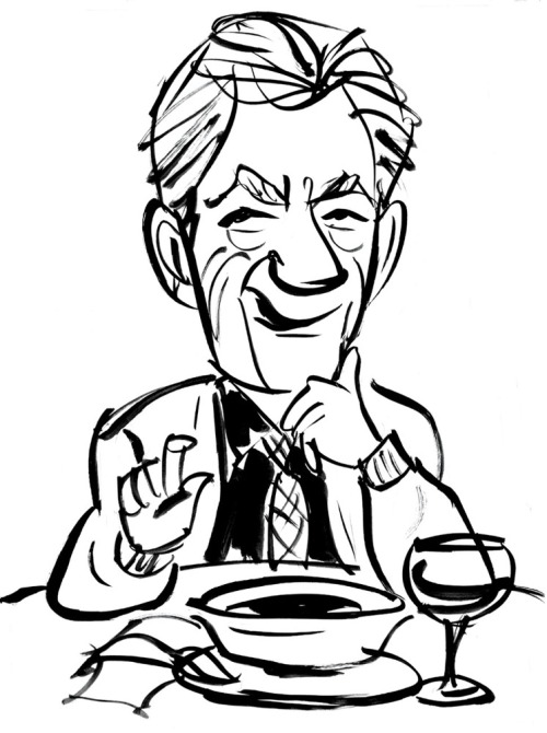 """One wizard is very much like another."" Out to Lunch with Sir Ian McKellan: The actor discusses life in the closet, coming out, and being Gandalf. Illustration by Tim Sheaffer"