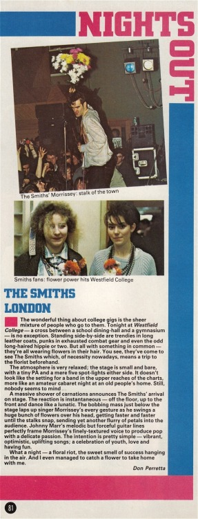 Review of The Smiths' 17th November 1983 at Westfield College, by Don Perretta for Smash Hits.