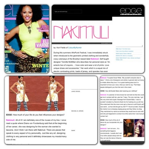 Check out the latest issue of Edge Magazine  (w/ Elle Varner on the cover) to read the interview they did on us. Holla! #nakimuli #edgemagazine #fashion #style #business #ellevarner #erykahbadu