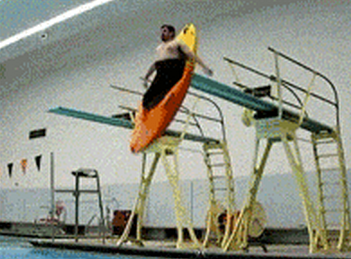 Fat Dude Kayaks Off Diving Board [Click to animate] Next stop, the Olympics.