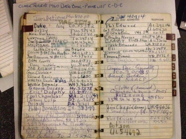 siebert:  Clark Terry's Phone Book pages C-D-E (circa 1960)
