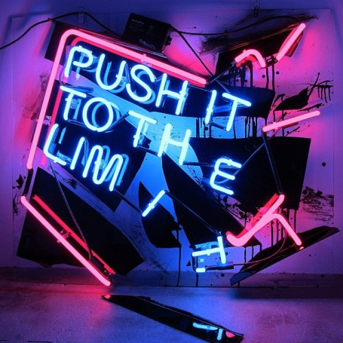 "patrickmartinezstudio:  ""push"" neon, plex and enamel paint 2012 #art #patrickmartinez #blackrainbow #scopemiami @gregbkrw @scopeartshow @dustinorlando"