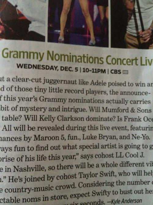 Kelly Clarkson Grammy mention in this week's Entertainment Weekly