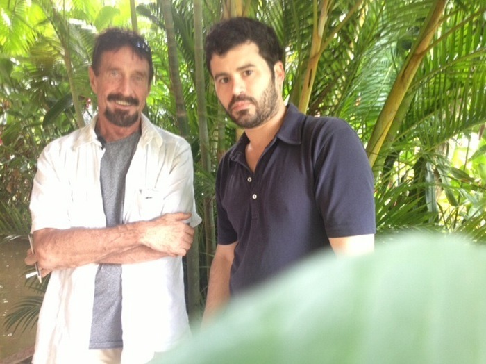 We Are with John McAfee Right Now, Suckers  VICE editor-in-chief Rocco Castoro and photographer/videographer Robert King have been following John McAfee for the past four days, documenting his life on the run. Rocco and Robert will continue to follow John until the conclusion of his journey and in the coming days will release exclusive preview footage of a forthcoming long-form documentary about his ordeal that will provide answers to many open questions and set the record straight. It will be nothing but absolutely epic, that much we can assure you.For media inquiries contact Alex Detrick Get up to speed on John McAfee's mad dash for freedom at whoismcafee.com. Follow Rocco on Twitter @rocco_castoro