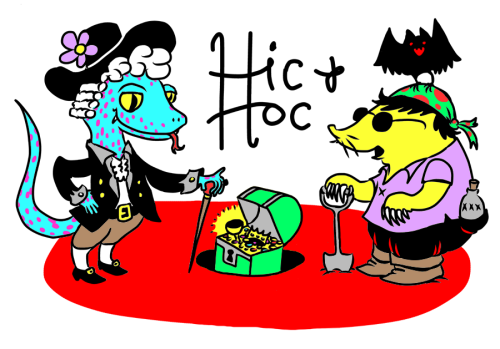 "Jason Poland sent along this sweet Hic & Hoc logo! Here's Jason's explanation: ""Here I have drawn Hic as a salamander sea captain, and Hoc as his scruffy cabin mole. Hoc has a Seeing Eye bat friend, but it's a classic case of the blind leading the blind."" I sent Jason some free comics.  If you send me a Hic & Hoc logo, I'll send you comics!  The only guideline is: incompetent pirates mateys."