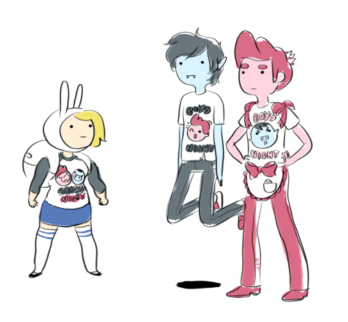 adventuretime:  Boys Night Hey, so when's Natasha's Fionna & Cake comic coming out, anyway?* *January