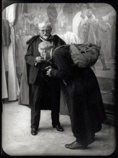 alfonsmucha:  Mucha and his assistant Knap posing for 'The Holy Mount Athos' (The Slav Epic cycle No.17, 1926)(c.1925-1926)