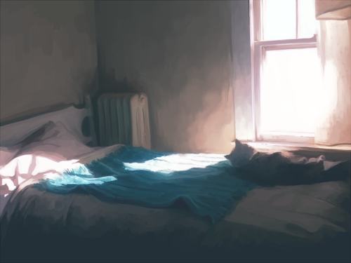 Background practice; a corner of my bedroom + cat