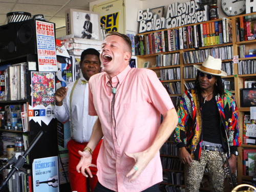 laughingsquid:  Macklemore & Ryan Lewis: NPR Music Tiny Desk Concert  If you haven't heard of Macklemore, do yourself a favor and listen. That first song, TEARS people. Tears on tears on tears.