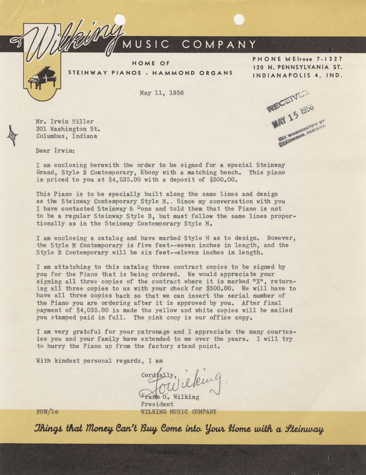 "As this letter makes clear, the Steinway piano was custom made for the Millers, and it fullfilled Mr. Miller's wish ""to have a bigger tone piano than a fellow feels he can have."" Although the Steinway Contemporary (designed by Walter Dorwin Teague) was manufactured as a Medium Grand piano, the Millers' piano is a Music Room Grand piano. Frank O. Wilking to J. Irwin Miller, 11 May 1956, 1/3, Miller House and Garden Collection, IMA Archives, Indianapolis Museum of Art, Indianapolis, Indiana. (MHG_Ia_B001_f003_031)"