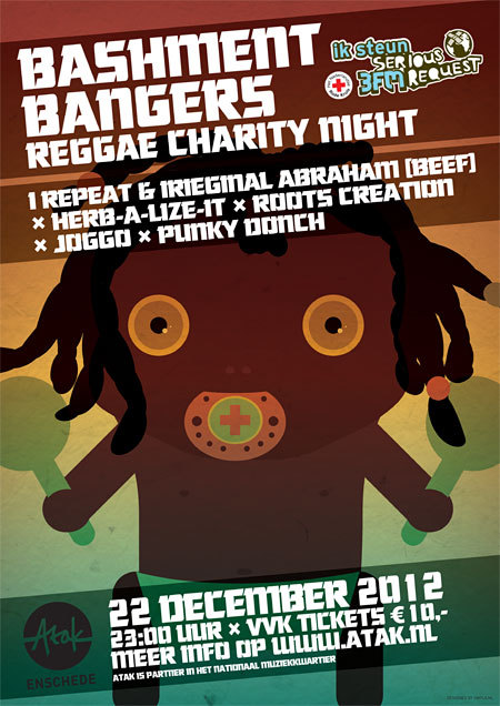 Poster for the 3FM Serious Request Reggae Night in Atak