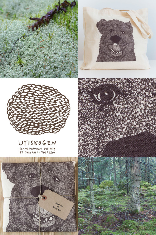 100% Organic cotton tote bag from Utiskogen. Bear illustration by Sarah Lindström. Available from the Utiskogen shop.