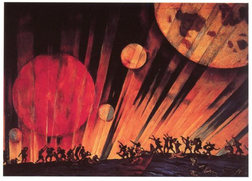 grupaok:  Konstantin Yuon, New Planet, 1921 The latest edition of our series for SFMOMA, Proposal for a Museum, features Russian cosmist philosopher (and museum librarian) Nikolai Fedorov, and his proposal for a museum-cemetary, containing everything pertaining to everyone ever, in expectation of their resurrection.